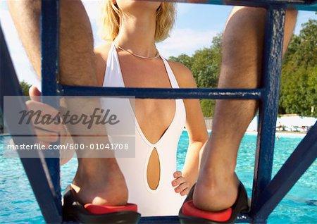 Woman Talking to Lifeguard
