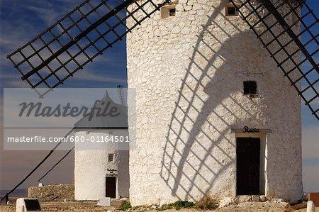 Exterior of Windmills, Castilla La Mancha, Ciudad Real Province, Spain