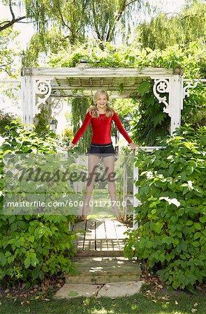 Girl Doing Gymnastics Outdoors