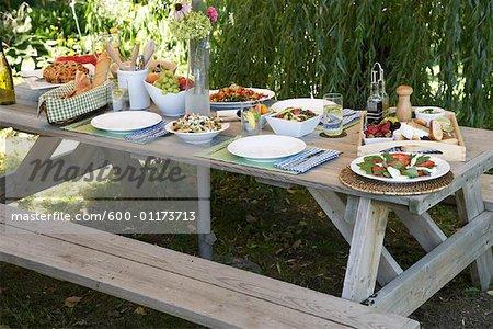 Picnic Table Set For Dinner Stock