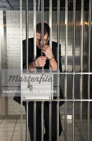 Man Handcuffed to Doors of Bank Vault