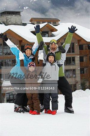 Portrait of Family at Ski Resort, Whistler, British Columbia, Canada