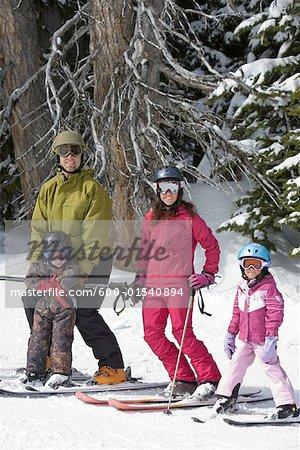 Portrait of Family Skiing, Whistler, British Columbia, Canada