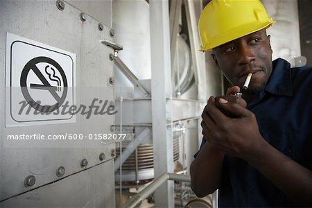 Worker Smoking in No-Smoking Area