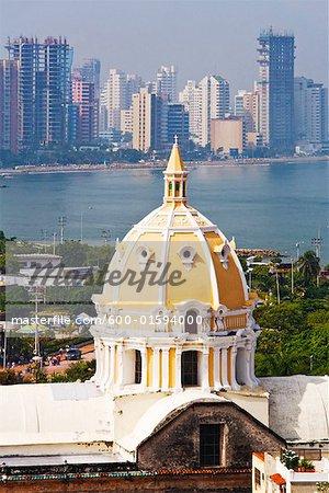 Iglesia de San Pedro Claver and Bocagrande in Background, Cartagena, Colombia
