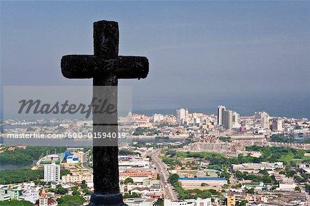 Cross at Convento de la Popa and Overview of Cartagena, Colombia