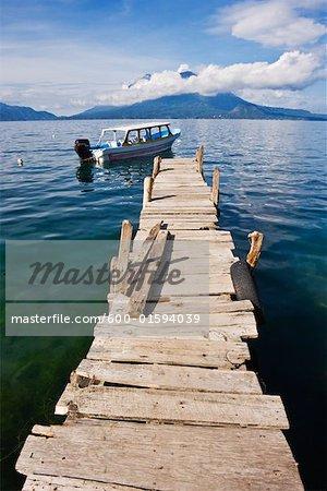 Boat and Dock on Lake Atitlan, Santa Catarina Palopo, Guatemala