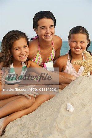 Portrait of Girls on Beach