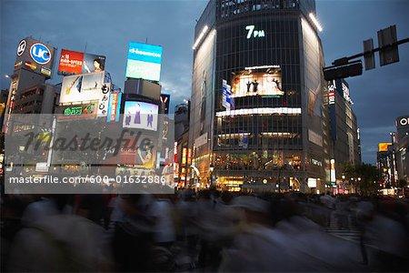 People Crossing Street at Shibuya Station, Tokyo, Japan