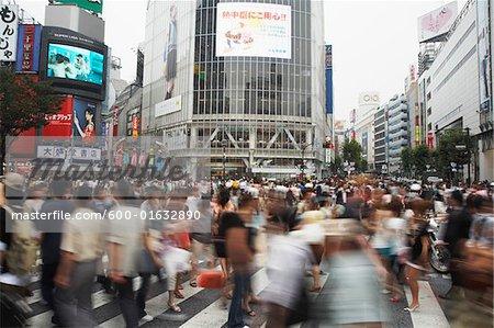 People Crossing at Shibuya Station, Tokyo, Japan
