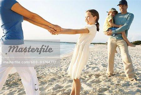 Family on Beach, Majorca, Spain