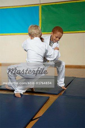 Boys Practicing Karate