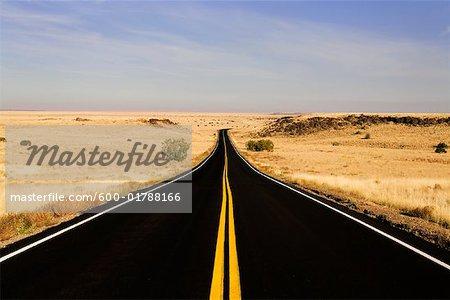 Open Road Through Arizona Desert, near Flagstaff, USA