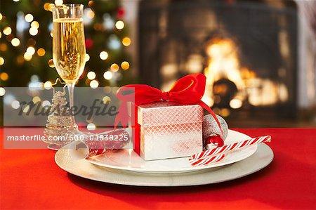 Christmas Place Settings christmas place setting - stock photo - masterfile - premium