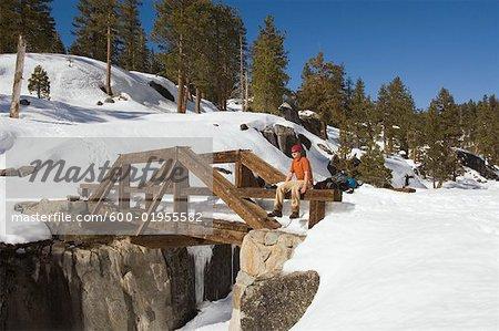 Hiker on Bridge, Yosemite National Park, California, USA