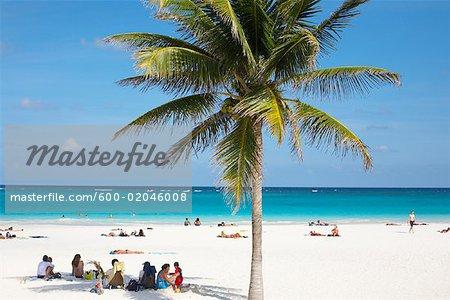 People On Beach Yucatan Peninsula Quintana Roo Mexico Stock Photo