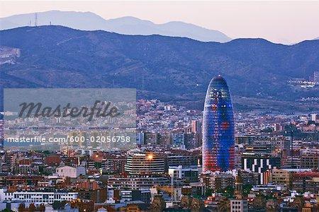 Agbar Tower and Cityscape, Barcelona, Catalunya, Spain