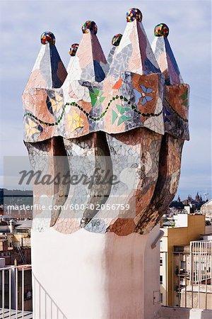 Chimney on Casa Mila, Barcelona, Catalunya, Spain