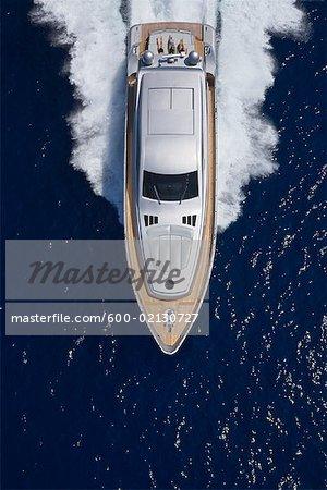 Overhead View of People on Luxury Yacht