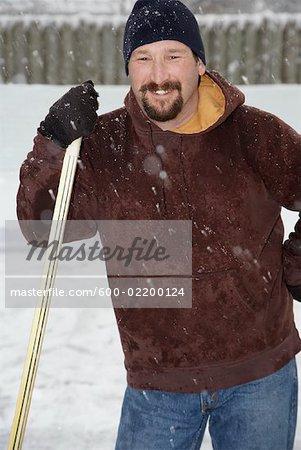 Portrait of Man with Hockey Stick