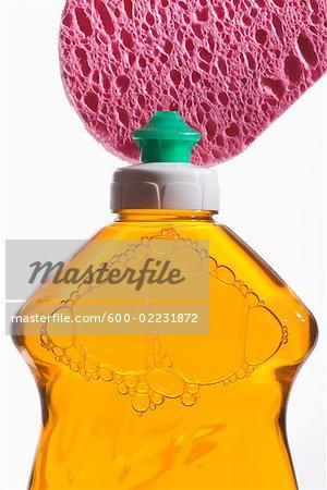 Liquid Dish Soap and Sponge