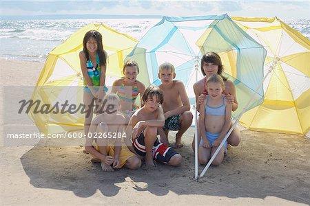 Group Portrait of Kids on the Beach, Elmvale, Ontario, Canada