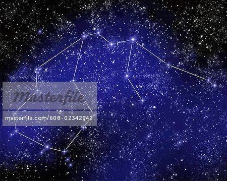 Outline of Constellation of Aquarius in Night Sky