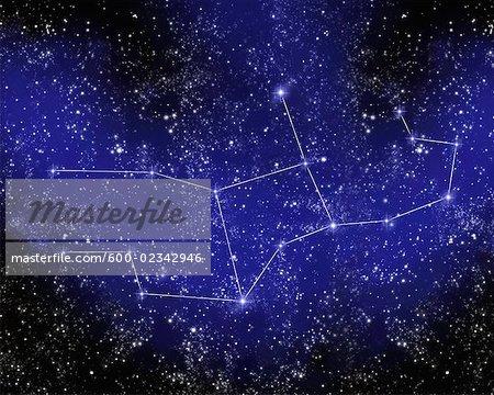 Outline of Constellation of Virgo in Night Sky