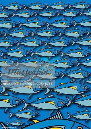 Illustration of School of Blue Fish