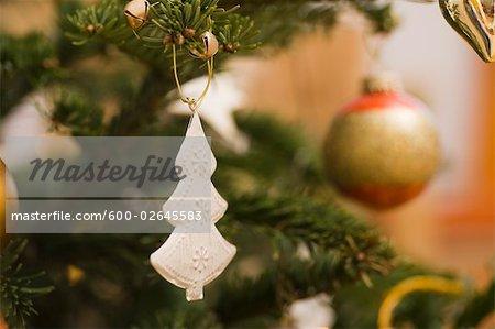 Close-up of Christmas Ornaments on Christmas Tree