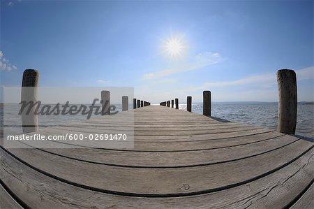 Wooden Dock, Lake Neusiedl, Burgenland, Austria