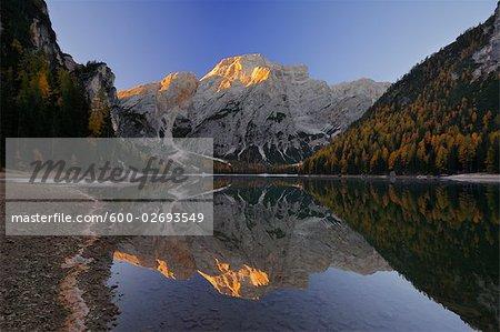 Croda Del Becco Reflected in Braies Lake, Fanes Alps, Fanes-Senes-Braies Natural Park, South Tyrol, Italy