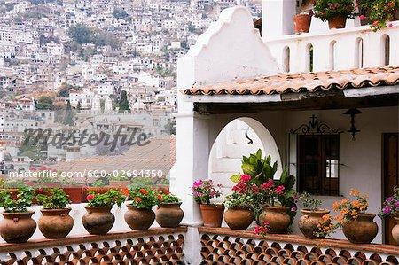 Potted Plants on Balcony, Taxco, Guerrero, Mexico
