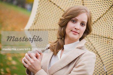 Portrait of Woman Holding an Umbrella, Portland, Oregon, USA