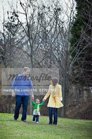 Family Walking in the Park, Bethesda, Maryland, USA - Stock