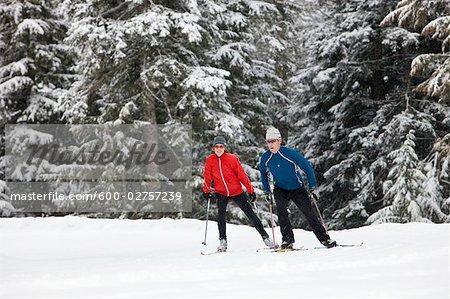 Couple Cross Country Skiing, Whistler, British Columbia, Canada