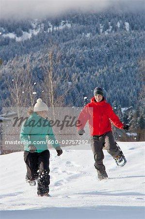 Couple Snowshoeing, Whistler, British Columbian, Canada
