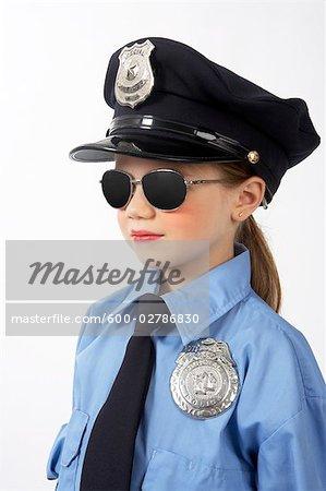 Girl Dressed as Police Officer