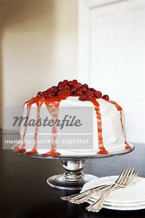 Raspberry Cake on Glass Cake Stand