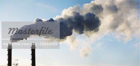 Smoke Stacks at Paper Recycling Plant, Toronto, Ontario