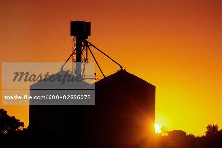 Wheat Silo, Sunset Silhouette
