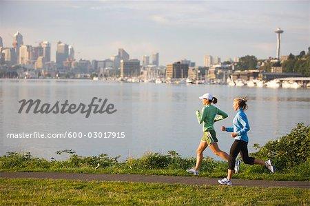Women Running, Lake Union, Seattle, Washington, USA