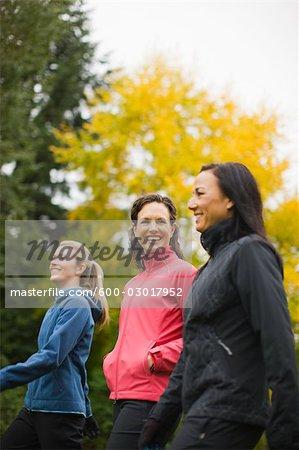 Women Walking in Autumn, Seattle, Washington, USA