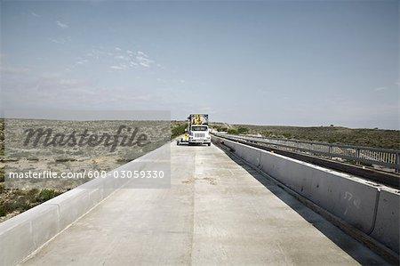 Transport Truck on Bridge, Rio Grand River, Texas, USA