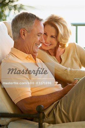 Couple Sitting on Patio, Florida, USA