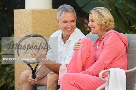 Couple Playing Tennis, Florida, USA