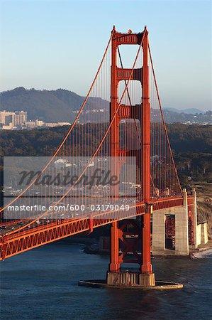 Golden Gate Bridge, South Tower and View of Presidio, San Francisco, California, USA