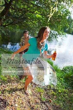 Teenage Couple Having Fun at the Lake, Near Portland, Oregon, USA