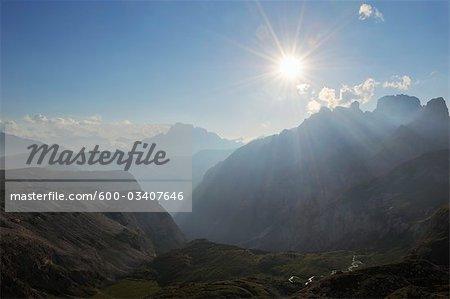Bright Sunlight over Dolomites and View of Croda Rossa d'Ampezzo, Trentino-Alto Adige, Italy