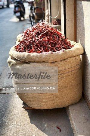 Burlap Sack of Dried Hot Chili Peppers at a Wholesaler's Shop, Kochi, Kerala, India